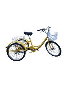 3905-Τρίκυκλο Ποδήλατο 24 Ιντσών για Ενήλικες, 7 ταχύτητες, Φρένα: Μπρος Vbrake πίσω Ταμπουρο / με δύο καλάθια