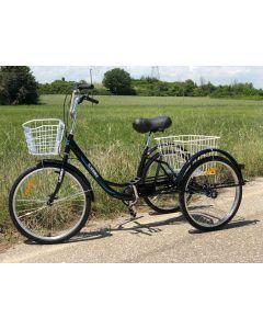 Τρίκυκλο Ποδήλατο 24 Ιντσών για Ενήλικες,  7 ταχύτητες, Φρένα: Μπρος Vbrake πίσω Ταμπουρο / με  δύο καλάθια